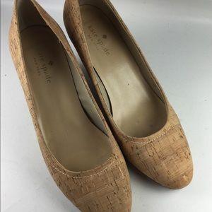 Kate spade cork wedge almond toe wedge heels 7.5